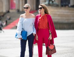Sofie Valkiers and Alexandra Lapp seen wearing a outfit from Marc Cain in the streets of Berlin befoe the Marc Cain Fashion Show Summer/Spring 2018 on July 4, 2017 in Berlin, Germany. (Photo by Timur Emek/Getty Images for Marc Cain)
