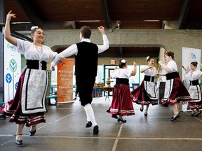 Italian Appennini Dancers perform during the Heritage Festival press conference at Hawrelak Park in Edmonton on Tuesday, Aug. 1, 2017. Codie McLachlan/Postmedia