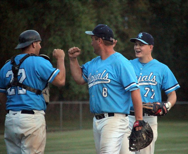 Carberry celebrates following an 11-9 victory over the Padres to advance to the SCBL championship final this evening at Republic Park in Portage la Prairie. (Brian Oliver/The Graphic)