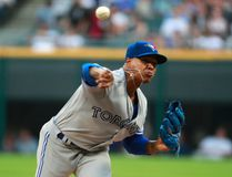 Toronto Blue Jays starting pitcher Marcus Stroman throws during the first inning of the team's baseball game against the Chicago White Sox in Chicago, on Tuesday, Aug. 1, 2017. (AP Photo/Jeff Haynes)