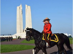 Two RCMP officers at the Vimy Memorial. LOIS ANN BAKER / SUPPLIED