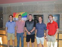 Photo by KEVIN McSHEFFREY/THE STANDARD Wildcats head coach Corey Bricknell (centre) with some of the new players: Andrew Maltby, Parker Simpson, Josh Armstrong (possible) and Myles Cook.