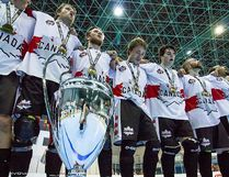 Belleville's Pat Millington, far left, and his Canadian teammates sing the national anthem after capturing the gold medal at the 2017 men's ball hockey world championships held earlier this summer in the Czech Republic. (www.richtrik.cz)
