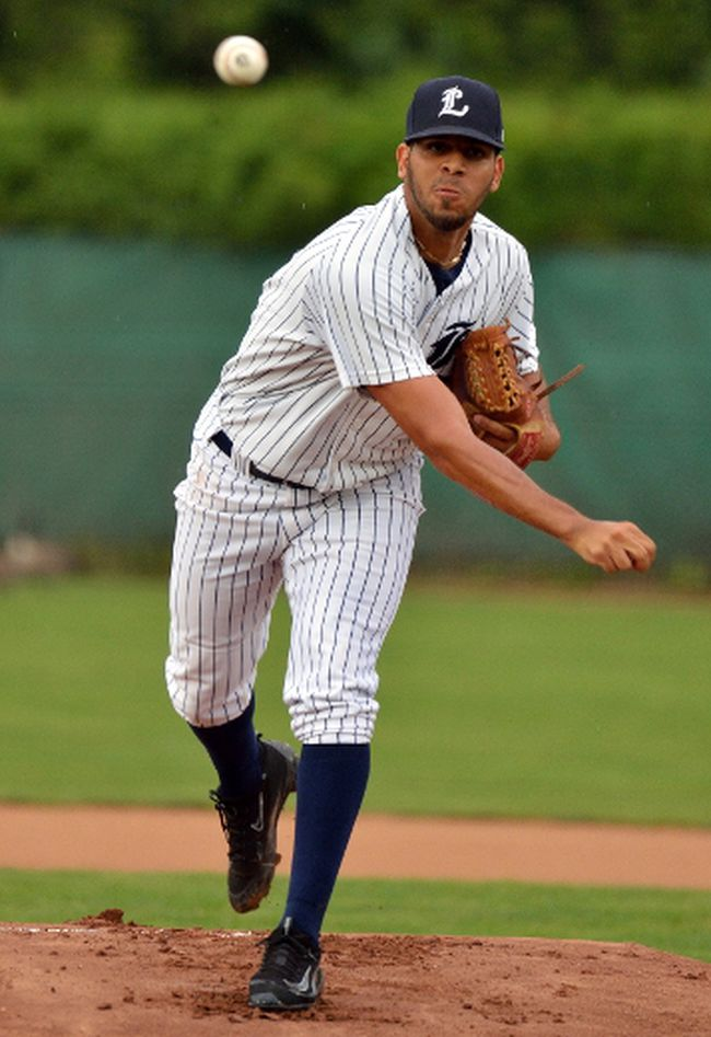 London Majors starting pitcher Luis Sanchez during game one of their IBL playoff game against the Burlington Herd at Labatt Park on Wednesday August 2, 2017.  (MORRIS LAMONT, The London Free Press)