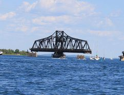 Keighley Gauthier The Little Current Swing Bridge is a landmark on Manitoulin Island. At more than 100 years old, this bridge still swings open every hour on the hour for from dawn to dusk for 15 minutes to let the boat traffic through. Be sure to keep swing times in mind when heading to Manitoulin this summer.