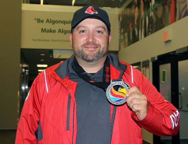 Brady Lacroix shows the silver medal Team Ontario won in U17 baseball during the 2017 North American Indigenous Games. He was the team's head coach.