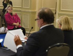 Susan Horvath, daughter of Arpad Horvath, one of Elizabeth Wettlaufer's eight murder victims, attends a news conference Thursday at which lead counsel William McDowell and senior counsel Elizabeth Hewitt announced details of the upcoming public inquiry into the murder of the nursing-home residents. (DEREK RUTTAN, The London Free Press)