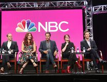 "Co-creator/executive producers David Kohan, from left, and Max Mutchnick and actors Debra Messing, Eric McCormack, Megan Mullally and Sean Hayes participate in the ""Will & Grace"" panel during the NBC Television Critics Association Summer Press Tour at the Beverly Hilton on Thursday, Aug. 3, 2017, in Beverly Hills, Calif. ( Willy Sanjuan/Invision/AP)"