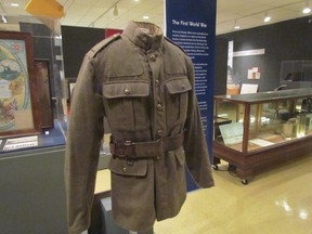 A First World War uniform displayed in the 2015 Lambton at War exhibition at the Lambton Heritage Museum is shown in this file photo. A reformatted version of the exhibition will be shown at the Judith and Norman Alix Art Gallery in Sarnia Sept. 1 through Jan. 7, alongside Witness: Canadian Art of the First World War, a travelling show from the Canadian War Museum. (File photo/Sarnia Observer/Postmedia Network)