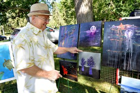 Local artist Richard Martin displays some of his work in Springbank Park, a tradition artists in London have been enjoying for about 40 years. (CHRIS MONTANINI/LONDONER/POSTMEDIA NETWORK)