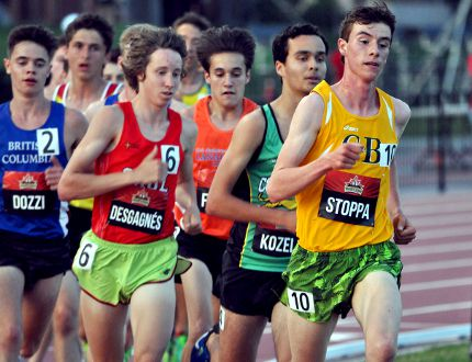 Photo courtesy of Rick Schroeder Jonathan Stoppa, from Barry's Bay, competed in the Under-20 five kilometre race during the national track and field championships held recently in Ottawa.