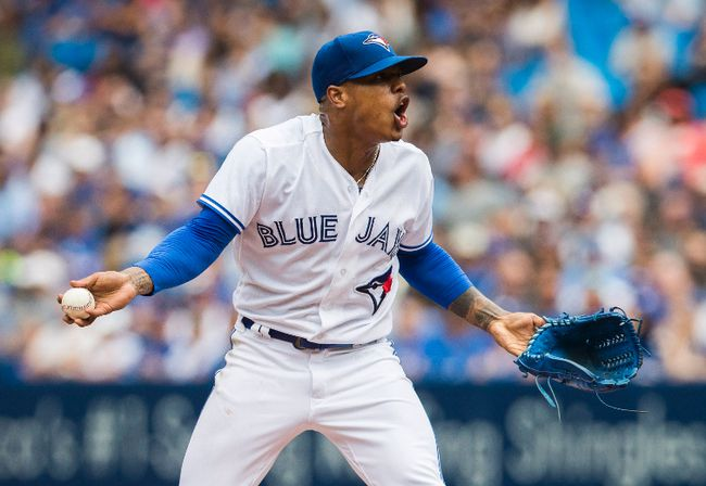 Toronto Blue Jays starting pitcher Marcus Stroman (6) reacts after being ejected from the game in Toronto on Thursday, July 27, 2017. (THE CANADIAN PRESS/Mark Blinch)