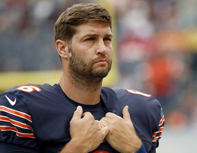 In this Aug. 27, 2016, file photo, Chicago Bears quarterback Jay Cutler (6) waits on the sideline before an NFL football preseason game against the Kansas City Chiefs in Chicago. Cutler was hired Friday, May 5m 2017, by Fox as an analyst to work on its No. 2 NFL team with Kevin Burkhardt and Charles Davis. (AP Photo/Nam Y. Huh)