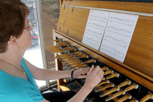 Dominion carillonneur Andrea McCrady rehearses one of the pieces of music she selected to perform as part of Stratford Summer Music's Carillon Festival. McCrady, who plays the carillon housed in Parliament Hill's Peace Tower, was invited to open the festival with performances on Saturday and Sunday.