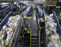 FILE PHOTO - Residential recycling material being sorted at the Materials Management Centre in Edmonton in January of this year.