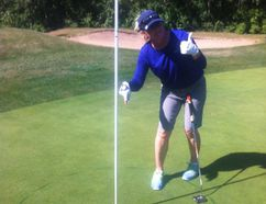 PHOTO SUPPLIED - Brit Standen celebrates after shooting a hole-in-one at the Edmonton Country Club.