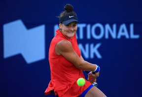 Bianca Andreescu plays a shot against Timea Babos during Day 4 of the Rogers Cup at Aviva Centre on Aug. 8, 2017 in Toronto. (Vaughn Ridley/Getty Images)