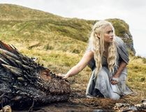 "In this file image released by HBO, Emilia Clarke appears in a scene from ""Game of Thrones,"" as the menacing, white-haired Daenerys Targaryen, aka Khaleesi, aka ""Mother of Dragons."" Even in a world with magic, dragons and deadly supernatural White Walkers, HBO's popular show has plenty of economic lessons to teach. (HBO via AP, File)"