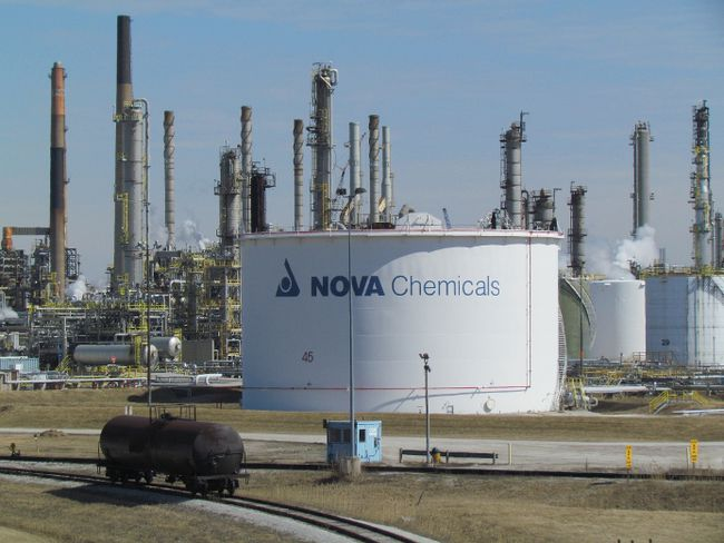 The Nova Chemicals Corunna site in St. Clair Township is shown in this file photo. The company has begun an environment assessment study of potential improvements to intersections on nearby Highway 40. The improvements are expected to be needed if plans move ahead for new polyethylene plant next to the Corunna site. (File photo/Sarnia Observer)