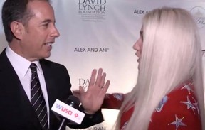 Jerry Seinfeld is pictured saying no to a hug from Kesha at the National Night of Laughter and Song event at the Kennedy Center in Washington, D.C.