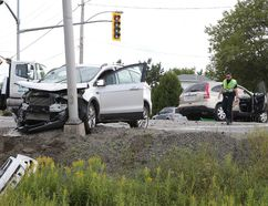 Gino Donato/Sudbury Star Greater Sudbury fire, police and EMS responded to a collision on Municipal Road 35 on Wednesday afternoon. The road was closed at Marier Street in Azilda after a two-vehicle collision. Two people were transported to hospital.