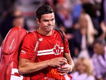 Milos Raonic of Canada walks off the court after his defeat against Adrian Mannarino of France during day six of the Rogers Cup presented by National Bank at Uniprix Stadium on August 9, 2017 in Montreal, Quebec, Canada. Adrian Mannarino of France defeate