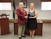 On August 8, Petawawa Mayor Bob Sweet (left) presented local resident Carol Sollows with the Sovereign's Medal for Volunteers, in recognition of her 20-plus years of voluntary work in a treasurer capacity for various organizations.