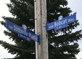 In March 2017, the short stretch between Stittsville Main and Norway Spruce streets underwent a name change, from Bell Street to Bobcat Way. DARREN BROWN / POSTMEDIA