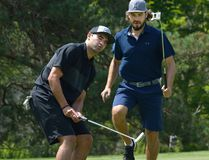 Toronto Maple Leafs forward Nazem Kadri, left, and Los Angeles Kings defenceman Drew Doughty, both from London, react as Kadri's putt was short during the Nazem Kadri Charity Golf Classic at Sunningdale Golf Course in London Thursday. Besides Kadri and Doughty, former Montreal Canadiens forward Brandon Prust, former Philadelpia Flyers blue-liner Danny Syvret, and Toronto Maple Leafs forward Connor Brown and Josh Leivo took part. The tournament raised over $100,000 for several Ontario Mental Health Charities. The Nazem Kadri Foundation has raised $1.3 million for London charities and Sick Children's Hospital in Toronto. (MORRIS LAMONT, The London Free Press)