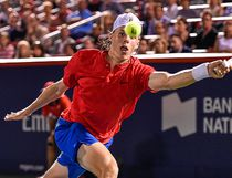 Denis Shapovalov of Canada reaches for the ball against Rafael Nadal of Spain during day seven of the Rogers Cup presented by National Bank at Uniprix Stadium on Aug. 10, 2017 in Montreal.  (Minas Panagiotakis/Getty Images)