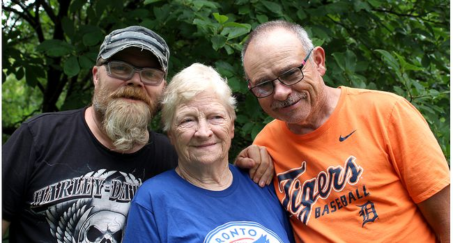 Mark Bowls, left, his mother Joyce Bowls, and Leigh Brown, pictured here on Friday, August 11, 2017, are among the family members leaning on each other for support after the tragic deaths of Jennifer Brown, 62, and Eileen Hiscock, in a three vehicle crash near Kent Bridge, Ont. on Tuesday, August 8, 2017. (Ellwood Shreve/Chatham Daily News/Postmedia Network)