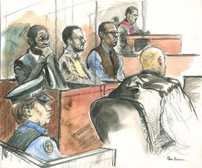 """Tyshan Riley, Philip Atkins and Jason Wisdom listen as Justice Michael Dambrot directs the jury. The three are accused of killing Brenton """"Junior"""" Charlton in March 2004. (FILE SKETCH/Pam Davies/Toronto Sun)"""