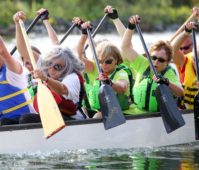 Marjorie Klie (far left) paddles hard along with the rest of the Wellington Legion Dragon Boat Team in the first race of the day at the Wellington Dragon Boat Festival on Saturday August 12, 2017 in Wellington, Ont. Tim Miller/Belleville Intelligencer/Postmedia Network