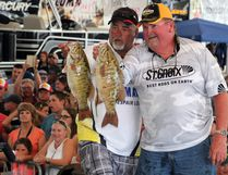 Leroy Wilson (left) and Bill Godin are the 2017 Kenora Bass International tournament champions, taking home a cheque for $21,500. Their three-day bass weight total was 55.58 kilograms. SHERI LAMB/Daily Miner and News/Postmedia Network