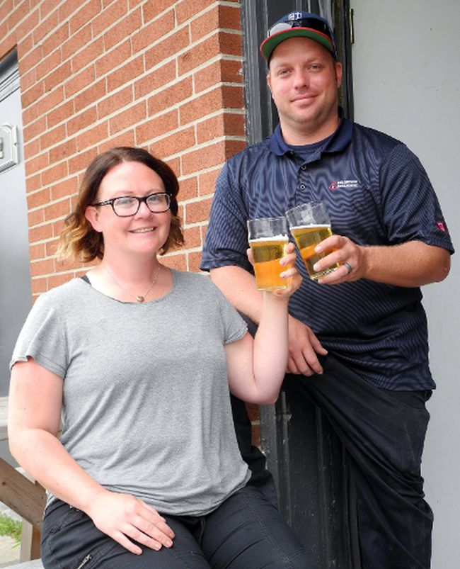 Jeff and Shannon Bunton of Cayuga plan to open the Concession Road Brewery Co. and tap room in the former fire hall in downtown Jarvis this fall. They are the first craft brewers to hang a shingle in Haldimand. MONTE SONNENBERG / SIMCOE REFORMER