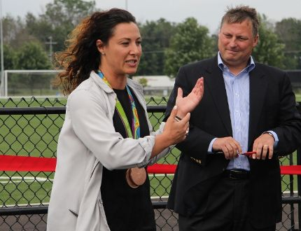 Cowan Field at Festival Hydro Community Park opened Friday. Phase one cost nearly $1.2M and includes an artificial turf pitch and lights. Former Canadian national women's soccer team member Melissa Tancredi was on hand, along with Stratford Mayor Dan Mathieson. (Cory Smith/The Beacon Herald)