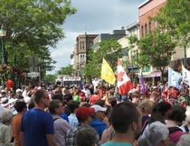 Thousands packed the downtown to watch the tunnel parade.
