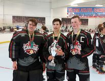 Lane Hartwell, Jordan Mis and Nicholas Power helped Canada win gold in the U-16 division at the AAU Junior Olympics in California. Photo supplied