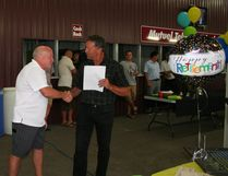 Central Huron Mayor Jim Ginn congratulated and thanked Campbell for his dedication to the community at Friday's retirement open house.
