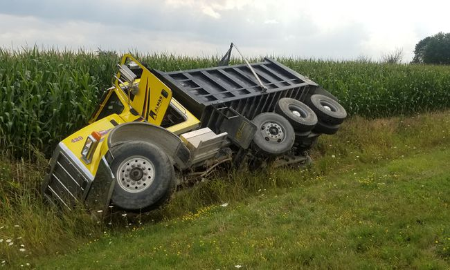 A dump truck ended up in the ditch along Thompson Road East near Waterford on Tuesday afternoon. NORFOLK OPP PHOTO