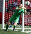English goalkeeper Karen Bardsley makes a save against Norway during a FIFA Women's World Cup match at TD Place stadium in Ottawa on June 22, 2015.