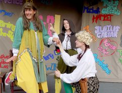 Ian Farthing, left, plays Juliet in a scene from the parody The Complete Works of William Shakespeare, Abridged, while Susie Burnett, right, plays Romeo and Helen Juvonen plays Friar Laurence. (SUBMITTED PHOTO)