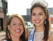 Emma Morrison, left, with her mother, Vanessa Bedard, was welcomed home to Chapleau Tuesday with a parade after winning Miss Teenage Canada over the weekend.