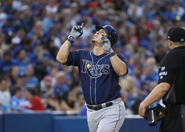 Wilson Ramos #40 of the Tampa Bay Rays celebrates after hitting a solo home run in the fourth inning during MLB game action against the Toronto Blue Jays at Rogers Centre on August 15, 2017 in Toronto, Canada. (Photo by Tom Szczerbowski/Getty Images)