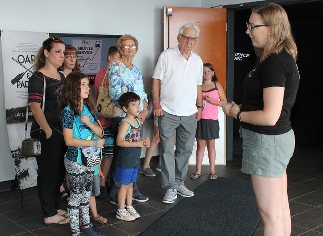 "Summer Stevenson, one of the facilitators for the Science North planetarium show ""Under the Same Stars: Minwaadiziwin"" goes over the ground rules before the show. The planetarium is in Kenora at the Lake of the Woods Discovery Centre from Tuesday, Aug. 15 to Saturday, Aug. 15 and shows run every half-hour from 1 to 4 p.m.