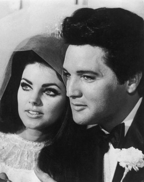 Elvis Presley (1935 - 1977) with his bride Priscilla Beaulieu after their wedding in Las Vegas. (Photo by Keystone/Getty Images)  FILE