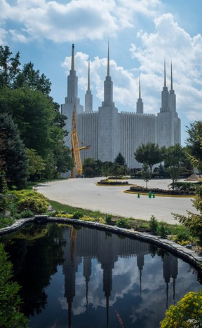 The Mormon Temple in Kensington, Md., is visible from the Beltway. Photo by John Kelly for The Washington Post.