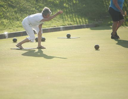 Last Thursday, Seaforth Lawn Bowling hosted one of their ten tournaments of the year. Dora Mote from Seaforth displays her skills as she bowls a curve towards the jack. (Shaun Gregory/Huron Expositor)