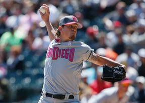 In this May 14, 2017, file photo, San Diego Padres starting pitcher Jered Weaver throws against the Chicago White Sox during the first inning of an interleague baseball game in Chicago. (AP Photo/Nam Y. Huh, File)