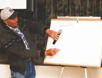 Dylan Biggs, an experienced cattle farmer, taught ranchers different herding techniques at the Champion Community Hall Aug. 9. Jasmine O'Halloran Vulcan Advocate
